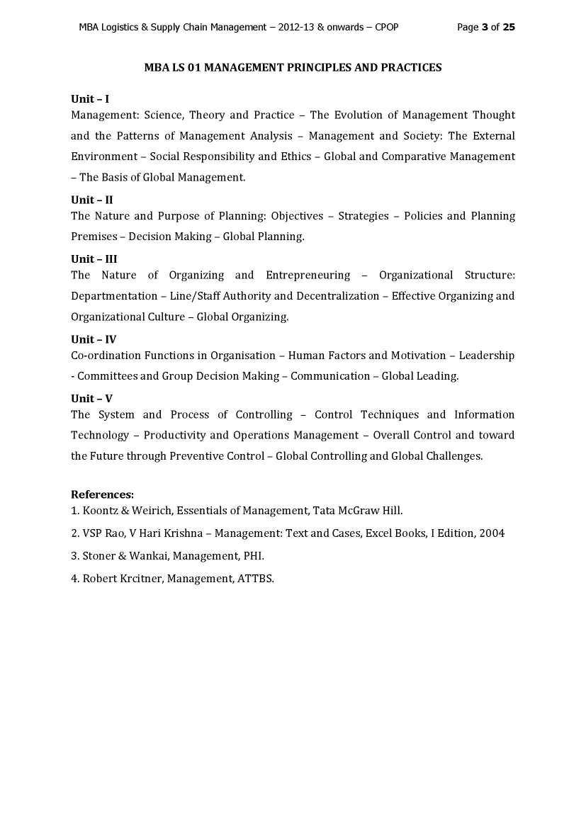 Bharathiar University MBA Logistics - 2018 2019 EduVark