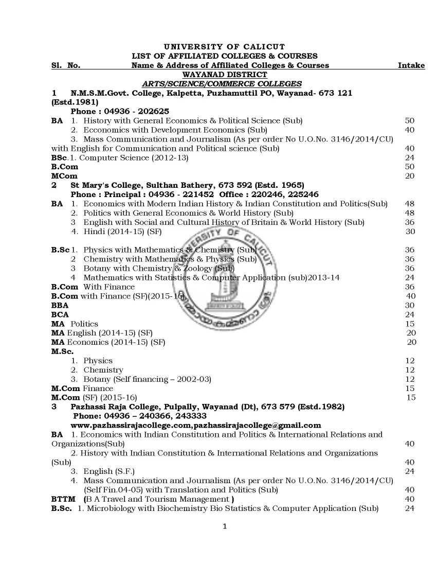 Calicut University Study Centre in Trivandrum - 2018 2019