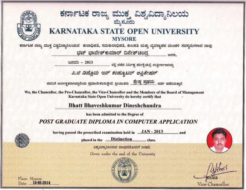Sample Degree Certificate of Karnataka State Open University - 2018