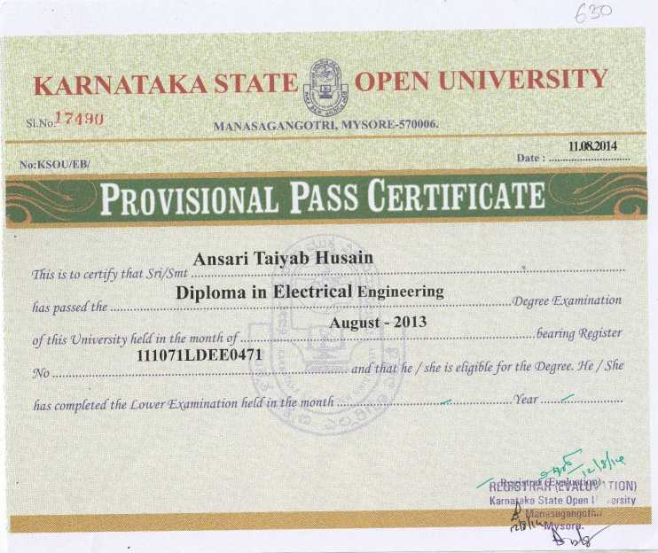 Sample Degree Certificate Of Karnataka State Open University