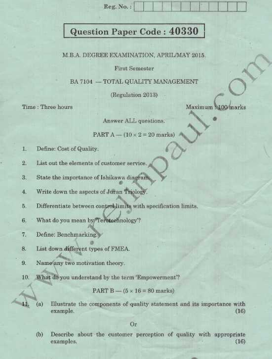 TQM Anna University Question Papers For MBA - 2018 2019 EduVark