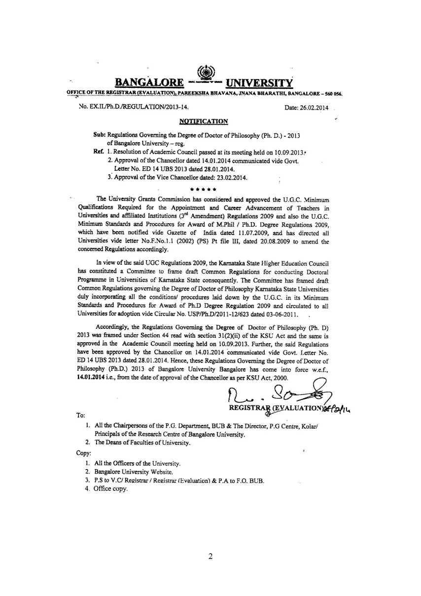 University Of Bangalore Phd Courses - 2018 2019 EduVark