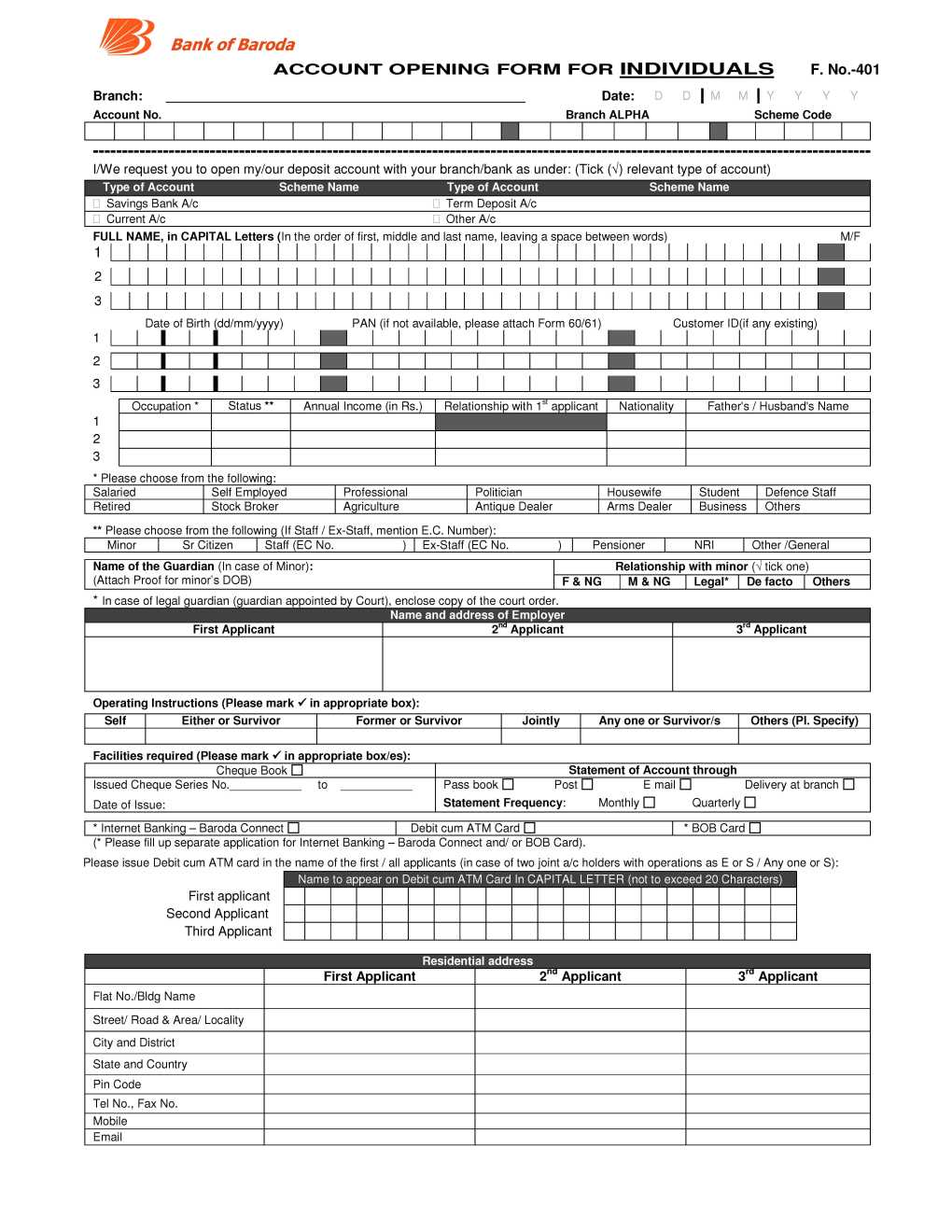 Bank Of Baroda Fixed Deposit Application Form PDF 2019