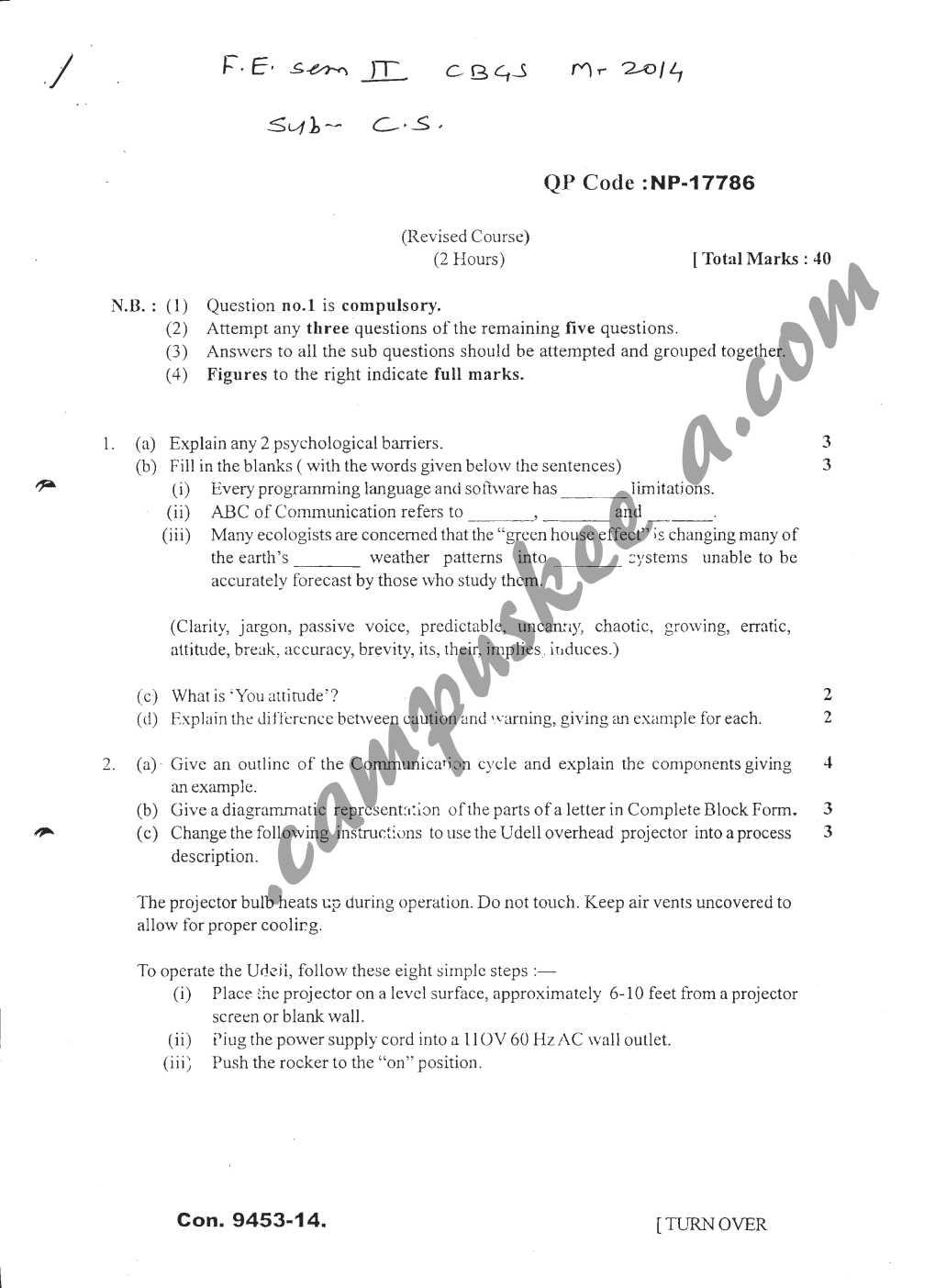 Communication Skills Mumbai University Question Papers