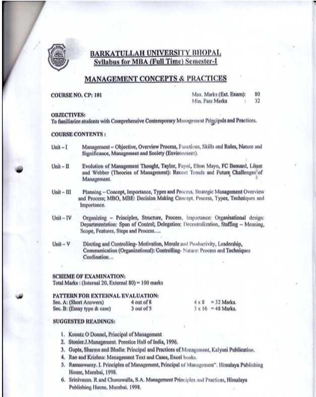 MBA Syllabus RGPV Bhopal - 2018 2019 EduVark