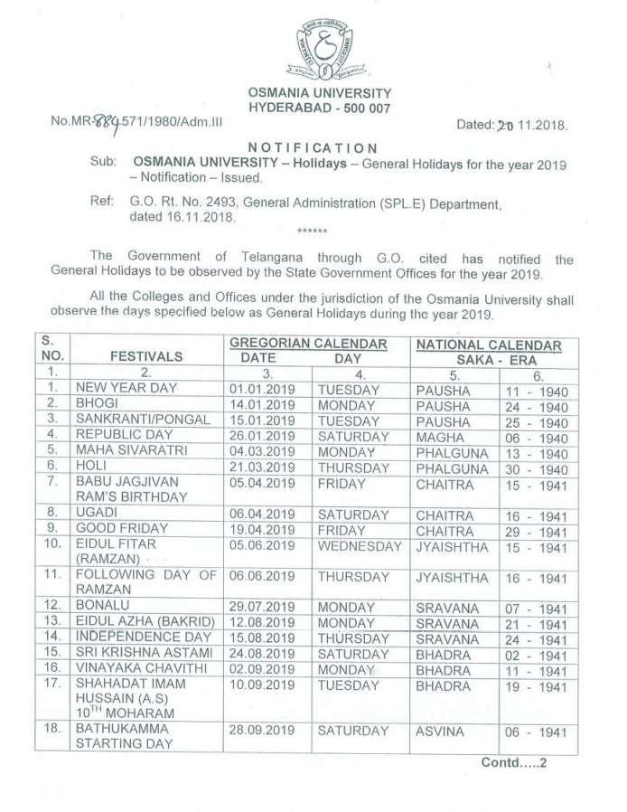 Ou Calendar 2022.Osmania University Dasara Holidays 2021 2022 Eduvark