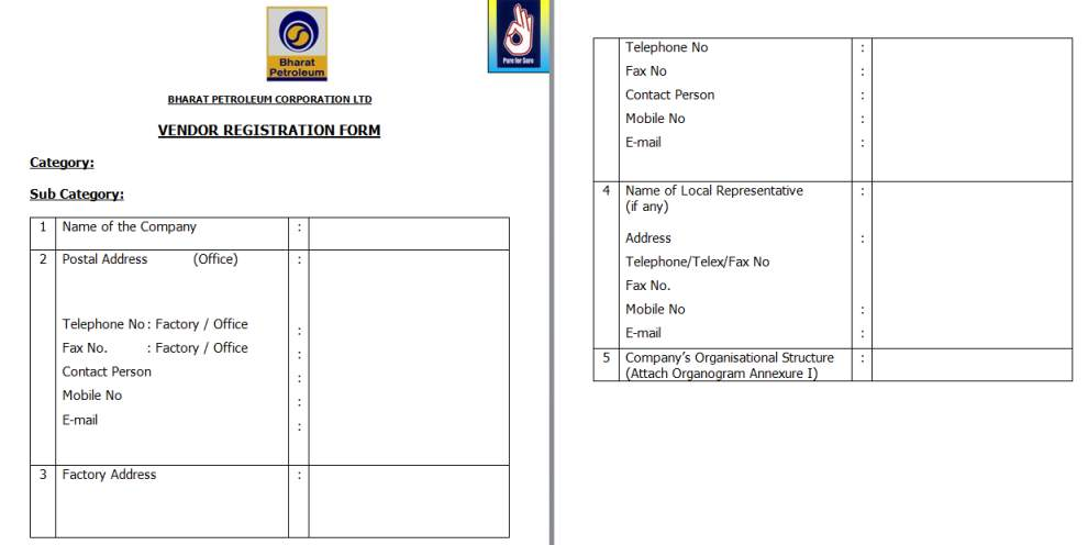 bpcl online vendor registration form